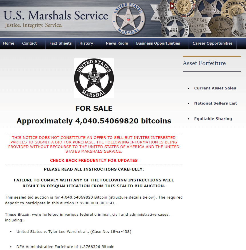 US Marshals auction