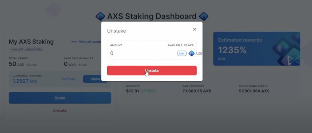 AXS unstaking, Axie Infinity dashboard